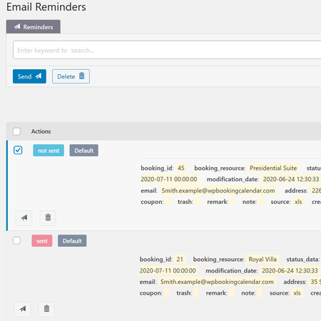 Email Reminders - send and view upcoming or sent email-reminders.