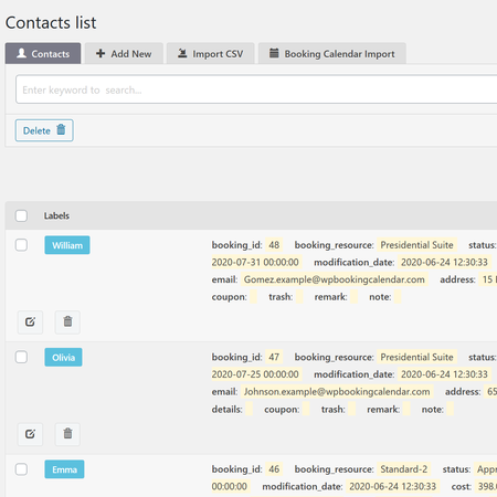 Contacts Listing - list and search for all your contacts on this page.